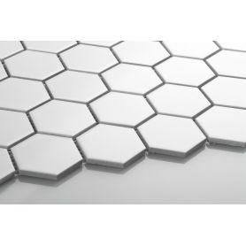 Heksagon biały - mozaika ceramiczna